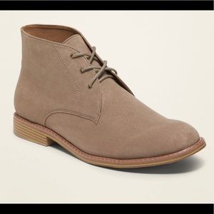 Faux suede lace up chukka boots